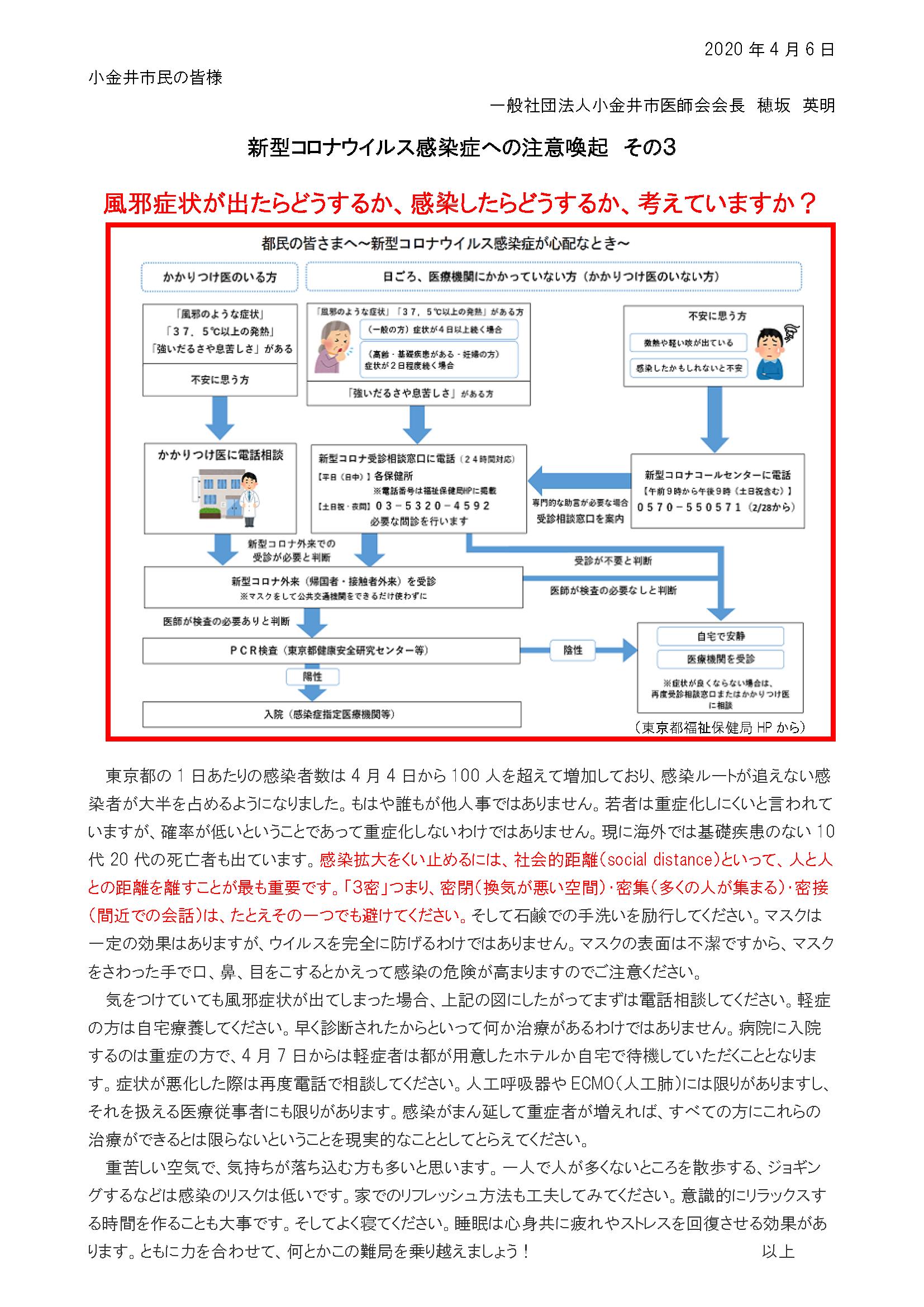 新型コロナウイルス感染症への注意喚起その3